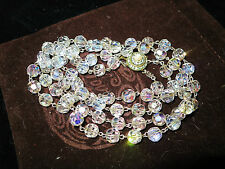 Vintage 1950s wire linked 2 strand aurora borealis crystal necklace