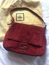 Fendi Burgundy Red Suede Gold Tone Hardware Mamma Baguette Handbag Authentic