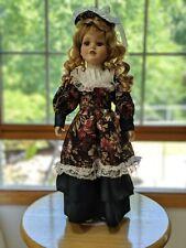 "Beautiful 14"" Doll: Ceramic Face/Hands, Blond Hair, Emerald Dress, Metal Stand"