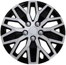 "16"" Silver Black Set of 4 Wheel Covers Snap On Hub Caps fit R16 Tire & Steel Rim"