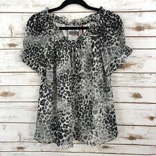 Izod Women's Silver Crest Black White Cheetah Sheer Peasant Ruffle Blouse Sz S