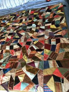 "Antique Handmade crazy Quilt-58"" X 58"" featherstitching"