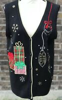 Black Knit Ugly Christmas Sweater Vest Button Gold Red Plaid Snowflake L 12/14