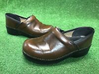 Dansko Brown Leather Professional Clogs Womens Size 7.5-8 Euro 38 Shoes