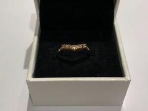 Stunning 9ct  Gold CZ Wishbone Half Eternity Ring Size M Ladies