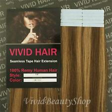 "10pc 18"" Remy Seamless Tape Skin Weft Human Hair Extension Chestnut Brown Blonde"
