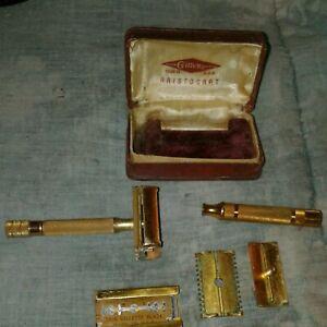 Vintage Razor-Gillette Aristocrat Gold Deluxe Razor Set, 2 Razors, Case & Blades