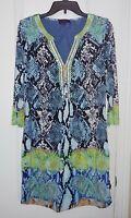 Hale Bob Embellished Snake Print Shift Dress Size Medium