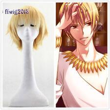 Anime Cosplay Wig Fate Zero Gilgamesh Gold Short Straight Heat Resistant Wig