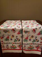 Set Of 2 Vintage Kitchen Towels Grapes Fruit Bowl Wine Unused