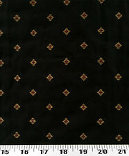 Drapery Upholstery Fabric Textured Background Embroidered Gold Diamonds - Black