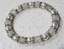 Faux Pearl And Cracked Effect Glass Bead Bracelet