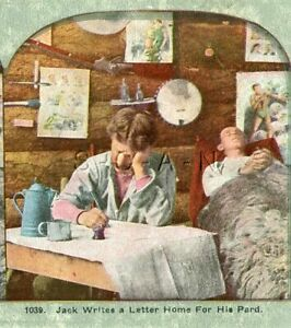 Antique Western Stereoview- Death Of Miner Bill- Cowboy- Cabin- Last Letter Home