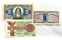 Spain-II Republica. Lote Billetes.  50 Ctms. 1 y 2 Pesetas. 1975. EBC/XF.