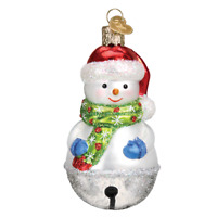 """Jingle Bell Snowman"" (24186)X Old World Christmas Glass Ornament w/ OWC Box"
