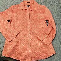 Talbots Women's Blouse Sz 6 100% Cotton Wrinkle Resistant Button Pink Geometric