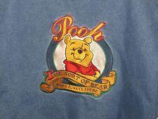 Disney Winnie The Pooh Jean Varsity Jacket No Bother Bear Size Xl Clean!