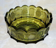 Fostoria Coin Green Glass Bowl Vintage Scalloped Rim Liberty Bell Mid Cent Vtg