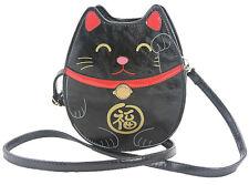 Sleepyville Critters Lucky Welcoming Cat Maneki Neko Vegan Black Crossbody Purse