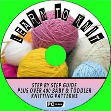 HOW TO KNIT BEGINNERS STEP BY STEP GUIDE + 400 BABY KNITTING PATTERNS PC-CD NEW