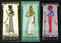 UAR Egypt 1968, Post day, Costumes Pharaonic period I set VF MNH, Mi 873-75, 7€