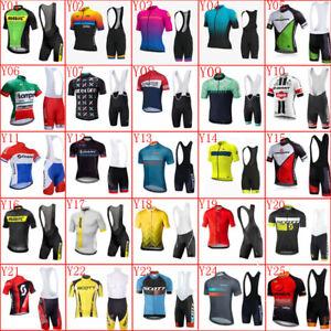 Men Team Cycling Jersey Suit Bike short sleeve shirt bib shorts set Bicycle Wear