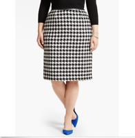 $120 Talbots Skirt Wool Blend Houndstooth Black White A Line Pencil Work Dress
