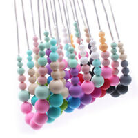 Food Grade Silicone Necklace Teething Beads Baby Sensory Chew Jewelry Teether