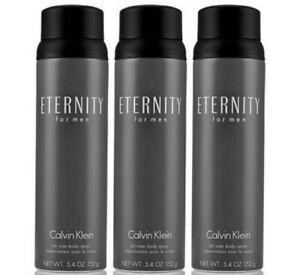 3 ETERNITY for Men Body Spray by CALVIN KLEIN 5.4 oz BRAND NEW! FREE SHIPPING!