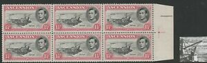 Ascension 1938-53 1½d Rose-carmine with Jibstay variety R 6/6 CW 17cf Mnh.