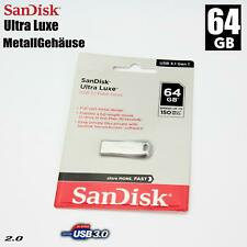 64GB Metal USB Flash Sticks Unidad Mecanismo SanDisk Ultra Lux Fusible Backup