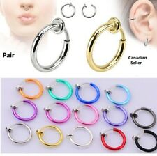 Clip Cuff Retractable Earring Fake body jewelry Pair Nose Ring Goth Punk Lip Ear