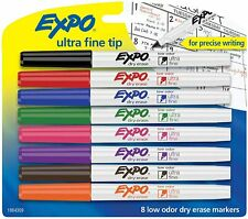 Expo 1884309 Low Odor Dry Erase Markers Ultra Fine Tip Assorted Colors 8 Count