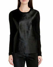 "TED BAKER ""CAMELIE""BLACK PONY HAIR LEATHER PANEL JUMPER BNWT RRP £249 UK 6/0"