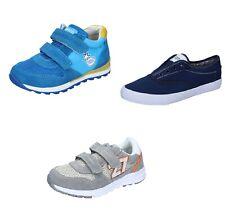 ENRICO COVERI scarpe bambino sneakers celeste grigio blu tessuto camoscio