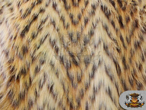 "Faux Fur Long Pile CHEVRON LION Beige Fabric / 60"" Wide / Sold by the yard"