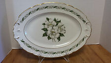 Old Charleston Oval Platter Tray Vogue Fine China Garland Magnolia gold trim