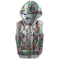 ladies gilet body warmer jacket silver floral Padded Warm Trendy Size 12, NEW