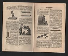 Lithografie 1902: LEDER-Fabrikation. Glätt-Stein Schuster Spalt-Walz-Maschine