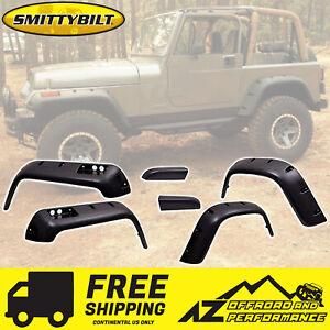 """Smittybilt 6"""" Wide Fender Flare Kit for 1987-1995 Jeep Wrangler YJ 17191 Black"""