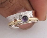 Amethyst Gemstone 925 Sterling Silver Spinner Ring Meditation Ring Jewelry ss894