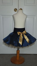 NEW HANDMADE GIRLS NAVY BLUE/GOLD TUTU MINI SKIRT IRISH DANCE 6 - 8 YRS