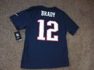 Patriots TOM BRADY Nike athletic cut Football jersey t-shirt youth XL NEW w TAGS