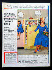 Vtg 1960 yellow Frigidaire refrigerator retro kitchen advertisement print ad art