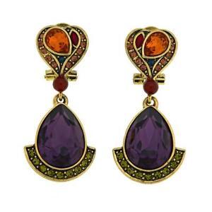 "Heidi Daus ""Gotta Love It"" Crystal Drop (Omega Backs) Earrings HSN $100.00"