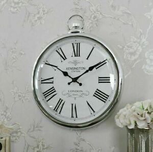 Large Wall Clock Pocket Fob Watch Round Vintage Retro Decor Style Silver 42cm