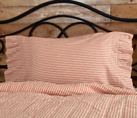SAWYER MILL RED TICKING STRIPE Pillow Case Set Farmhouse Bedding VHC Brands