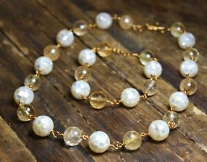 Mother of Pearl Shell Inlay Ball and Citrine Gemstone Necklace & Bracelet Set