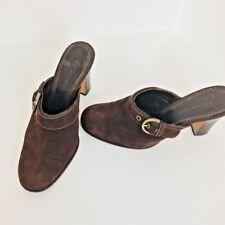 """AK Anne Klein Women's Brown Suede Mule Buckle Slides 4"""" Heel Size 8 1/2 M"""