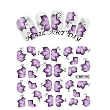 Nail Art Water Transfers Stickers Decals-Adesivi Fiori Viola Unghie Decalcomania